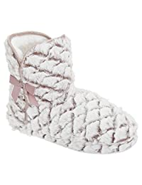 Womens/Ladies Patterned Faux Fur Boot Slippers
