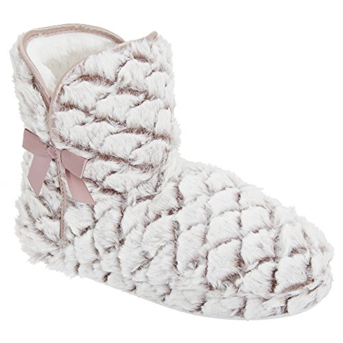 Universal Textiles Womens/Ladies Patterned Faux Fur Boot Slippers Brown/White ZHq04mK8
