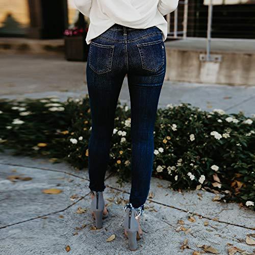 Fonc Dames Slim Denim Femme Casual Dtresse Pantalon Jeans Crayon De Sexy Mode Hautes Pants Skinny Crayon Leggings Bleu Taille Boyfriend Trou BnzA7wBRxq