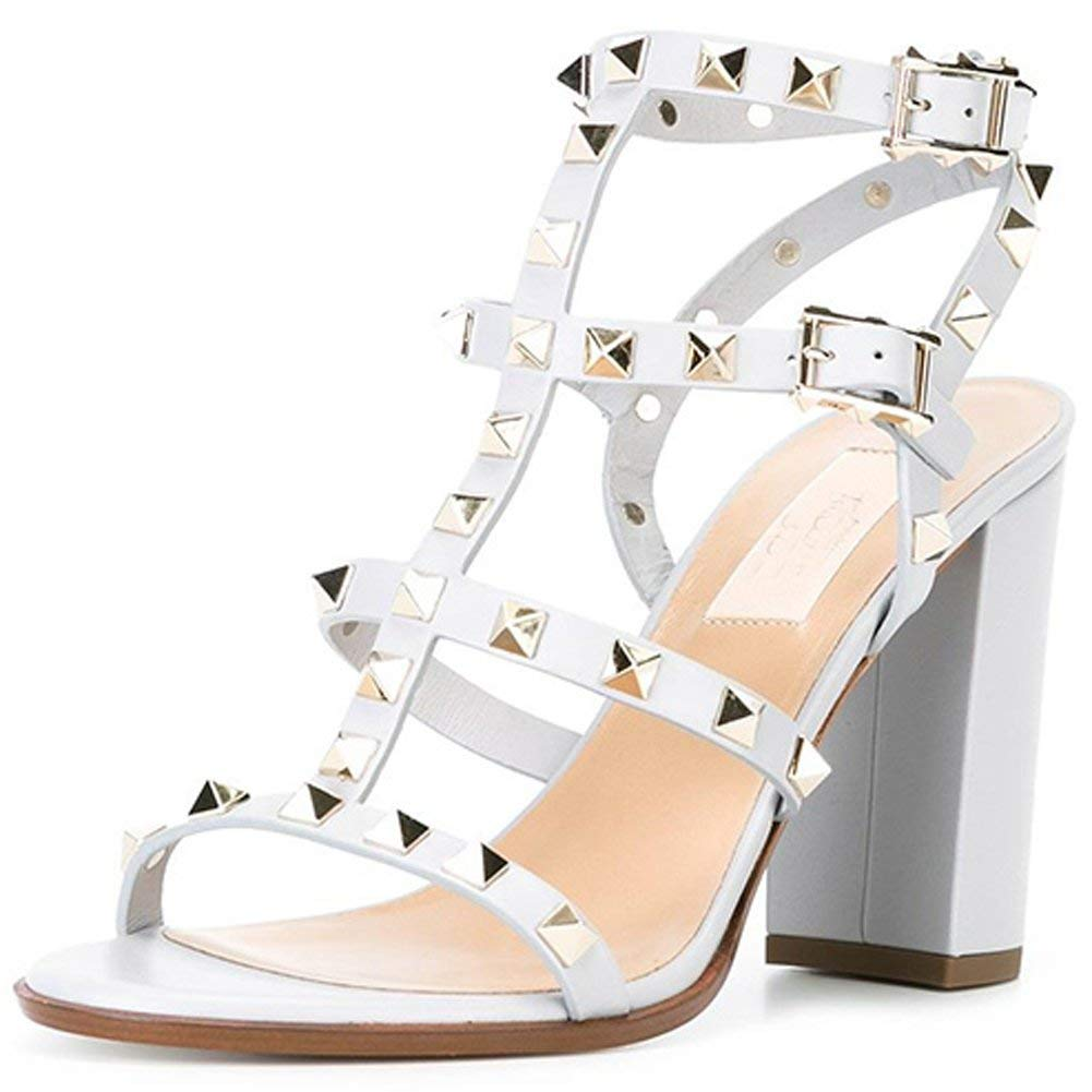 2215 9cm White Pu gold Rivets Comfity Sandals for Women,Rivets Studded Strappy Block Heels Slingback Gladiator shoes Cut Out Dress Sandals