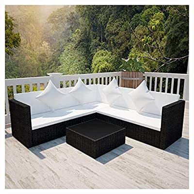 K&A Company Outdoor Furniture Sets, 4 Piece Garden Lounge Set with Cushions Poly Rattan Black