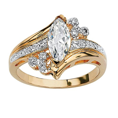 Palm Beach Jewelry 14K Yellow Gold-Plated Marquise Cut Cubic Zirconia Engagement Anniversary Ring Size 5