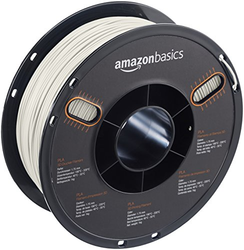 AmazonBasics PLA 3D Printer Filament, 1.75mm, Pearl White, 1 kg Spool