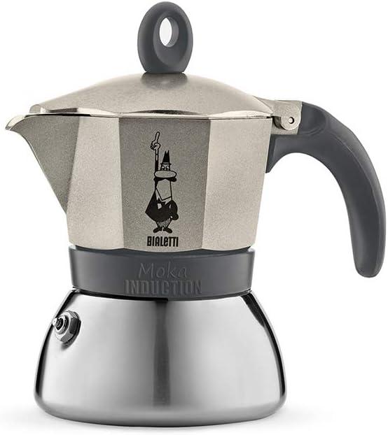 Bialetti Moka Induction Cafetera Italiana Espresso por Inducción, Aluminio, Oro (Champagne), 3 Tazas