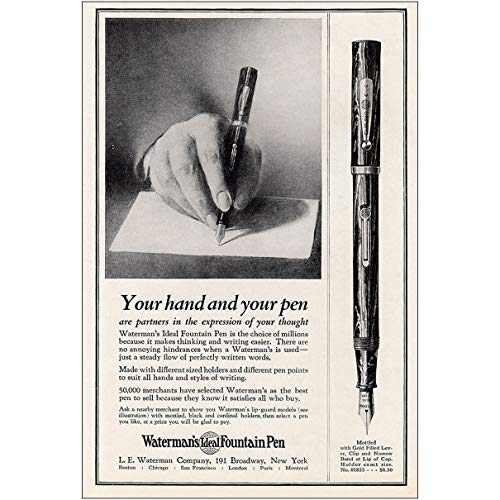 (RelicPaper 1925 Watermans Ideal Fountain Pen: Your Hand and Your Pen, Waterman Print Ad)
