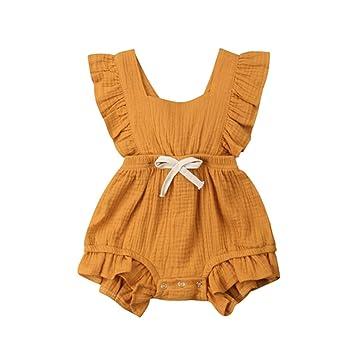 Amazon.com: Bebé recién nacido Niñas Ropa Volantes Mameluco ...