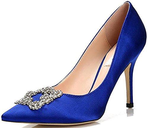 Pickin 2018 Womens Pointed Toe Evening Pumps Rhinestones Satin Stiletto Wedding Shoes Prom Heels Hot Sell,7B(M) US,Blue