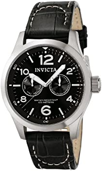 Invicta II Men's I-Force Stainless Steel and Black Leather Quartz Watch