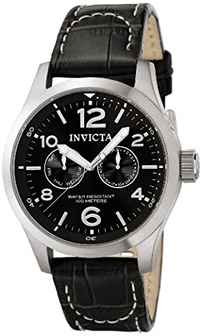 Invicta II Men's 0764 Stainless Steel Watch with Black Leather Band (Invicta Watch Black Leather)