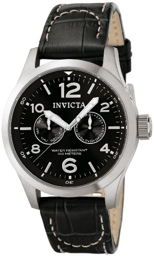 Invicta II Men's 0764 Stainless Steel Watch with Black Leather Band ()