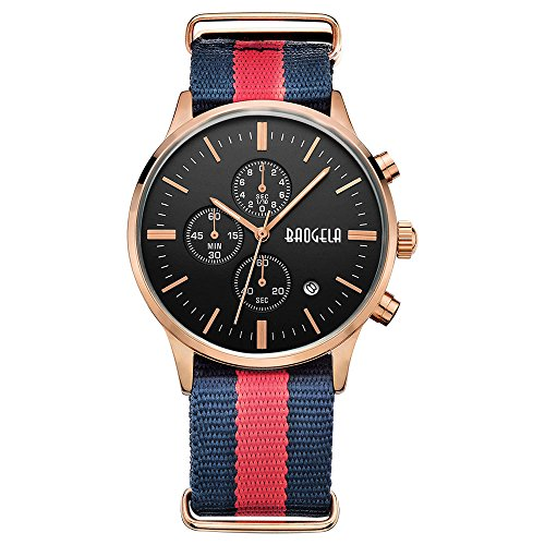 BAOGELA Fashion Men's Sports Chronograph Thin Watch with Dark Blue Red Canvas Strap and Rose Gold Case Black Face Day Date Waterproof