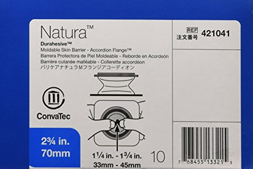 Natura Moldable Durahesive Skin Barrier Accordion Flange with Hydrocolloid Flexible Collar, Opening 1-5/16