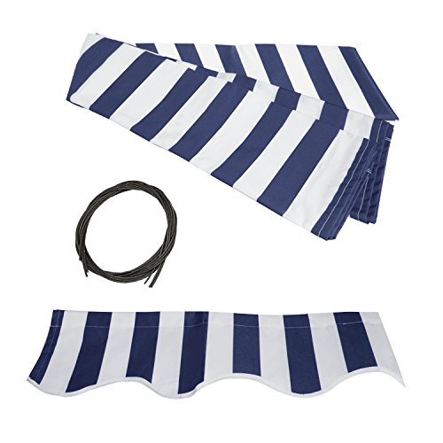 ALEKO FAB12X10BLUWT03 Retractable Awning Fabric Replacement 12 x 10 Feet Blue and White Striped by ALEKO