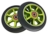Revolution (Green) 7 Spoke 110mm Aluminum Pro Scooter Replacement Wheels | SOLD BY PAIR | URBAN RIDERS USA