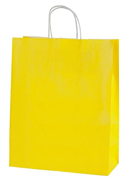 Thepaperbagstore 25 Bolsas De Papel De Colores, Reciclables Y Reutilizables, con Asas Retorcidas, Amarillo - Medianas 250x110x310mm