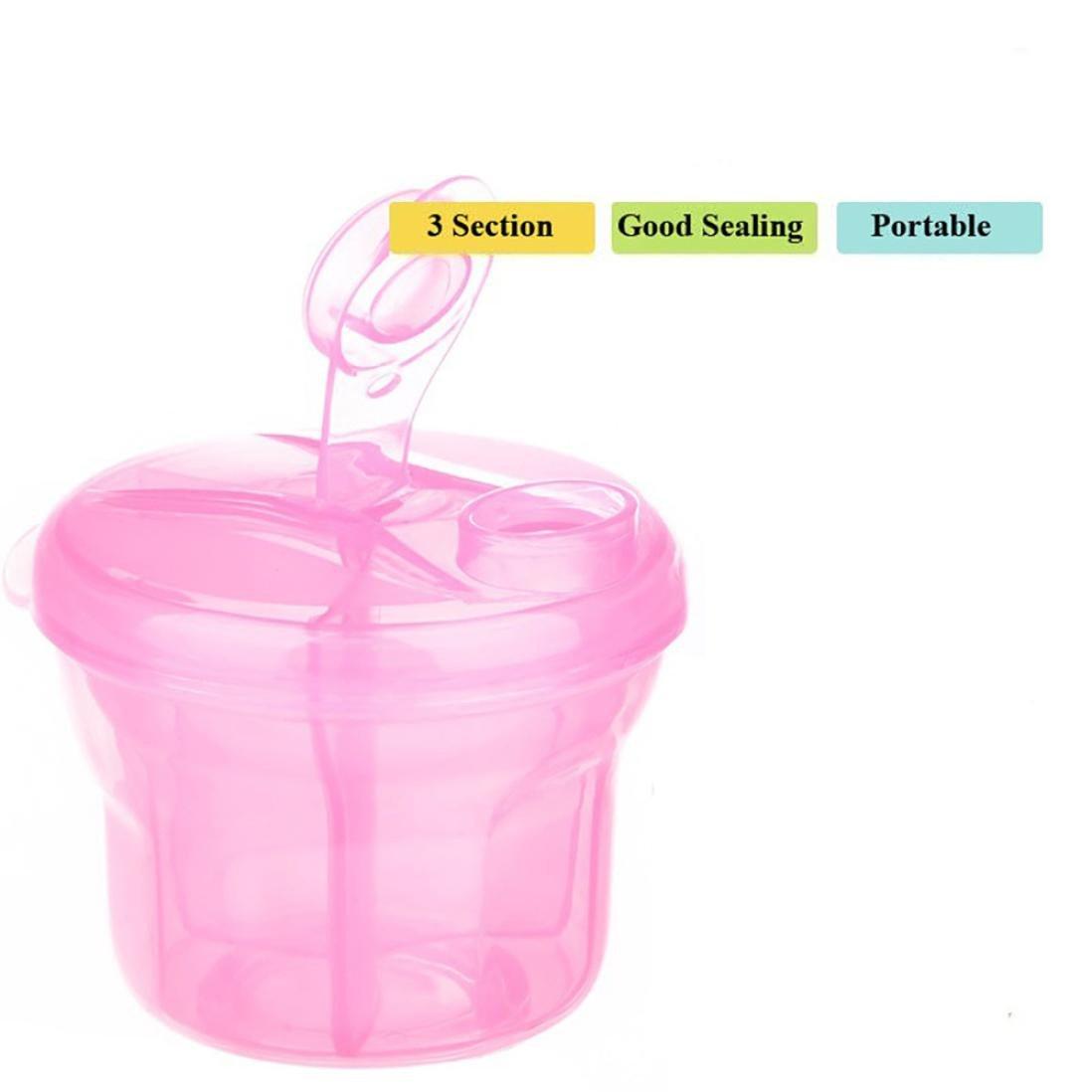 Rose Doseur Poudre Lait de 3 compartiments Dosette Lait Bebe