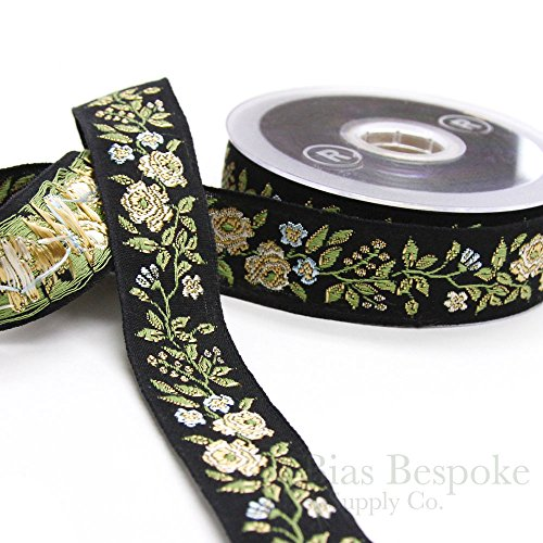- Black and Cream Wild Rose Jacquard Ribbon Trim, Made in Italy, Sold by the Yard