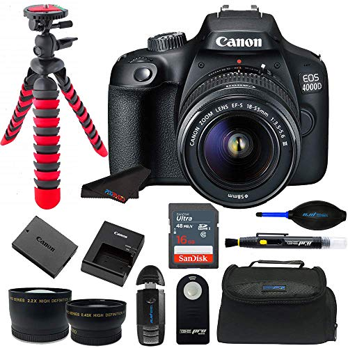 Canon EOS 4000D / Rebel T100 18.0 MP SLR – Black w/ 18-55mm DC III Lens Bundle