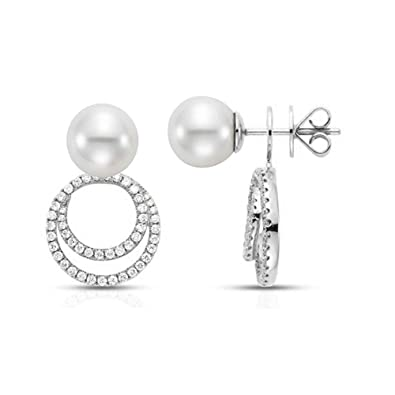 905e4dabd Ear Jacket Earrings Sterling Silver 925 with Freshwater Pearl Earring for  Women (White Gold): Amazon.co.uk: Jewellery