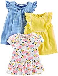 Baby Girls' Toddler 3-Pack Short Sleeve Tops