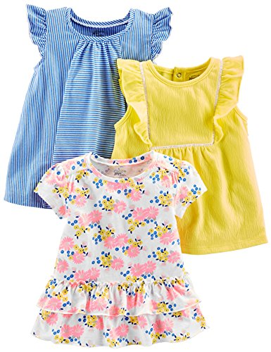 Simple Joys by Carter's Baby Girls' Toddler 3-Pack Short Sleeve Tops, Blue Stripe, Floral, Yellow, 2T ()