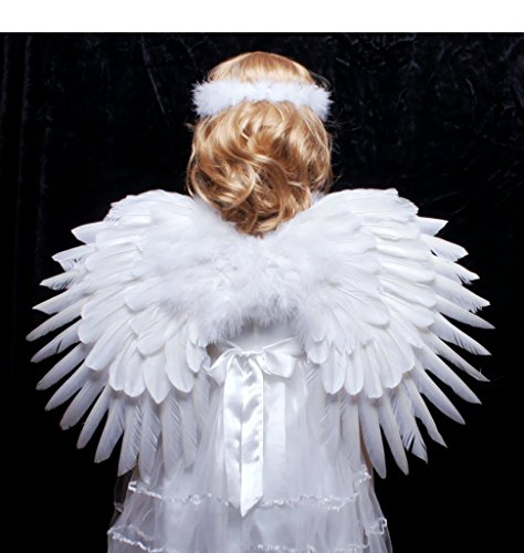 Children's Boy Girl White Feather Angel Wings Duo Use Pointing up or Down with Halo,mask (White) (Angel Costume Boys)