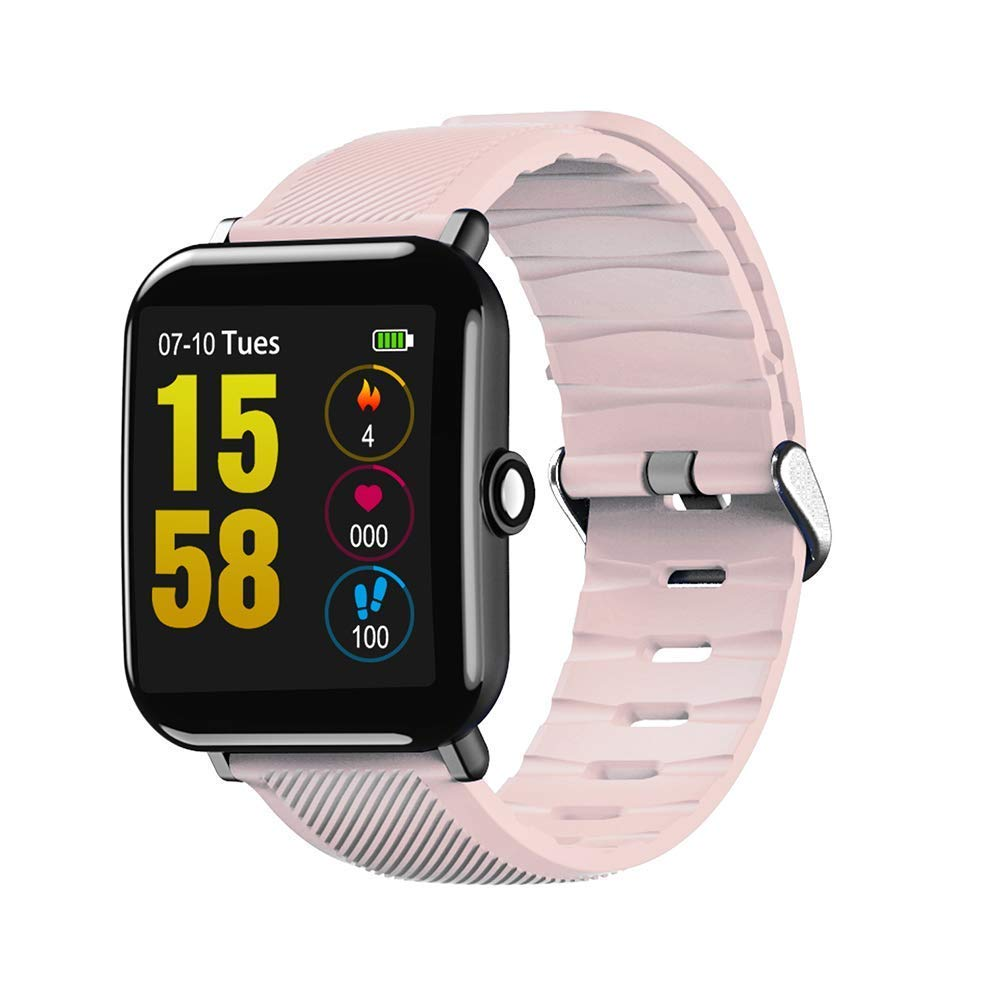 Buybuybuy OUKITEL W2 Smart Watch Bluetooth Fitness Watch Waterproof TF2 1.3 inch HD Touchscreen Step Counter, Heart Rate & Sleep Monitor Sport Smart Bracelet for iOS/Android Smartphones (Pink)