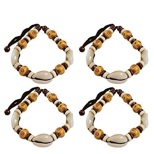 NOVARENA 4 Pcs Light Brown Beads with Cowrie Shells Bracelets for Men Women Beaded Bracelets Multi Layer Stackable Ethnic Tribal African Traditional (4 Pcs Light Brown Beads with Cowry Shells)