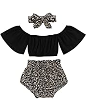 GRNSHTS Baby Girl Shorts Set Toddler Ruffle Sleeve Blouse Tube Top+Leopard Pants+Headband Summer Outfits