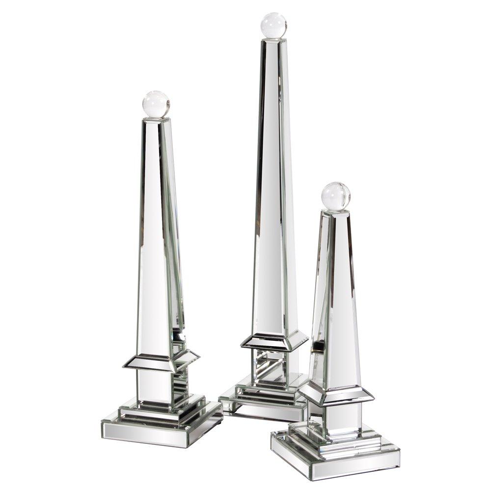 Howard Elliott 99091 Mirrored Obelisk with Glass Ball, Large