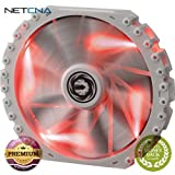 Spectre Pro 230mm LED Case Fan (Red LEDs, White Frame) Spectre Pro 230mm LED Case Fan (Red LEDs, White Frame) With Free 6 Feet NETCNA HDMI Cable - BY NETCNA