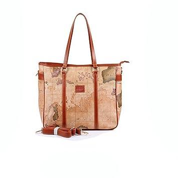 Coofit leather handbag shoulder bag bucket bag world map design coofit leather handbag shoulder bag bucket bag world map design brown 4 gumiabroncs Gallery