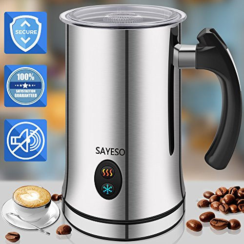 Milk Frother, Electric Milk Steamer with Hot or Cold Functionality, Automatic Milk Frother and Warmer, Silver Stainless Steel, Foam Maker for Coffee, Cappuccino and Macchiato (FDA Approved)