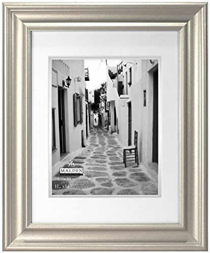 Malden International Designs Classic Wall Mouldings Eaton Double Matted Picture Frame, 8x10/11x14, Silver