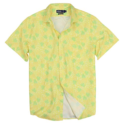 Urban Boundaries Men's Lightweight Short Sleeve American Flag Beach Pineapple Shirts (Yellow Pineapple, Regular Fit: Medium)