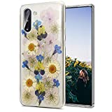 Galaxy Note 10 Plus Case Floral,Pressed Real Flower Clear Case with Design for Girls [Support Wireless Charging] Soft Silicone TPU Phone Protective Cover for Samsung Galaxy Note 10 Plus,Sunflower Blue