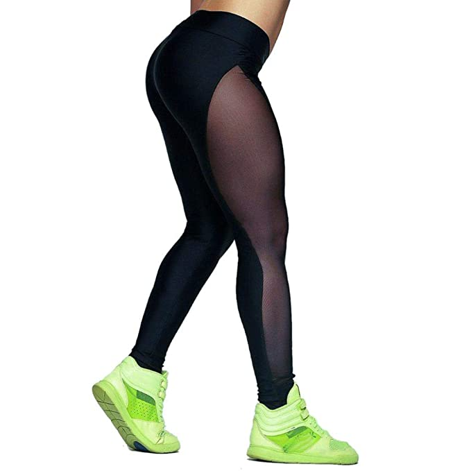 ❤️Pantalones de Malla de Mujer,Yoga Outdoor Gym Fitness Elástico Joggers Leggings Absolute