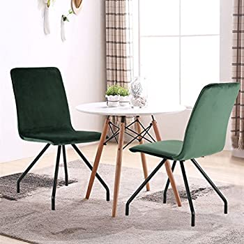 This Item GreenForest Dining Chairs Velvet Cusion Wood Transfer Metal Legs Room Set Of 2 Green