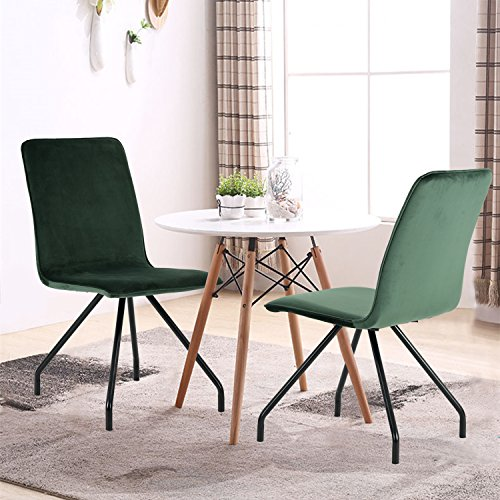 16835d003a6 GreenForest Dining Chairs Velvet Cusion Wood Transfer Metal Legs Dining  Room Chairs Set of 2