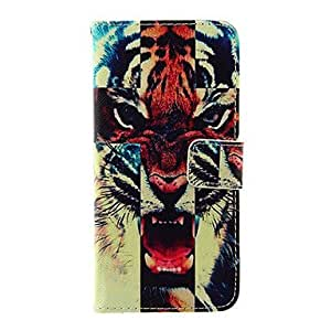 QJM Fierce Tiger Pattern TPU Back Cover PU Full Body Case with Stand and Card Slots for iPhone 6