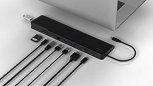 Juiced Systems ChockDOCK v2 - Universal USB-C Laptop Docking Station - 1x USB-C Power Delivery | 1x USB-C 3.1 Gen 2 Data Port | 1x USB 3.1 Gen 2 Port | 2X USB 3.0 Gen 1 | Gigabit Ethernet | SD | AUX