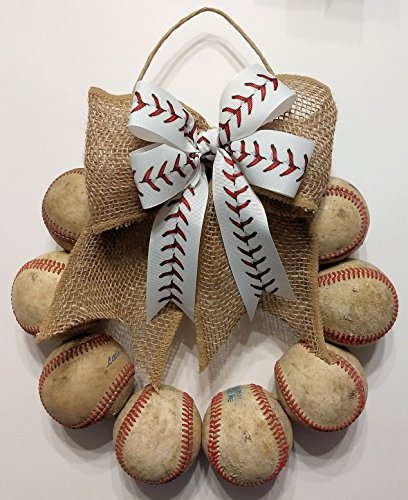 Baseball Door Wreath made with Used Leather Baseballs and White Baseball Stitch -