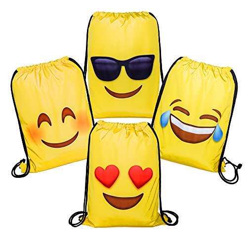Funny Halloween Costumes For College Kids (Emoji Drawstring Backpack Bags, 4-Pack Set (8 Designs) | Double-Sided Quality Bag Designs, Durable Polyester Material | Birthday Party Favor Trick or Treat Goodie Gift Bags)
