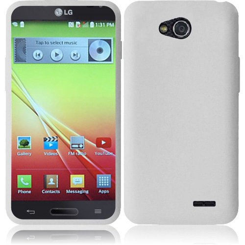Mystcase (TM) For T-Mobile LG Optimus L90 Rubber SILICONE Soft Gel Skin Case Phone Cover + Screen Protector (White)