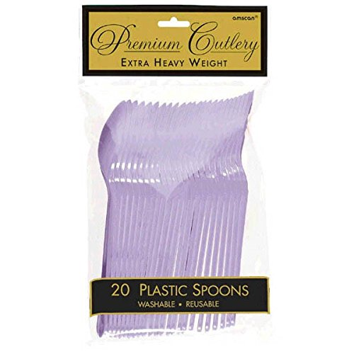 Party Perfect Reusable Premium Plastic Spoons Tableware, Lavender, Full Size, Pack of 20