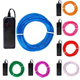 On'h EL Wire 7 Pack - 9ft Neon Glowing Strobing Electroluminescent Wire DIY with 3 Modes Controllers- Red, Green, Blue, White, Pink, Purple, Orange (9ft, Blue/Red/White/Green/Pink/Orange/Purple)