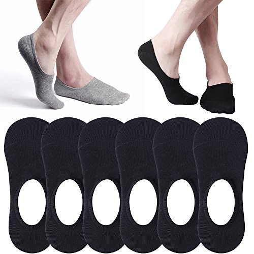 8a9991d0b28e Mens No Show Socks Non-Slip Grips Casual Low Cut Boat Sock 6 or ...