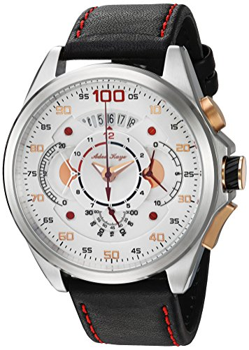 Adee Kaye Men's 'WHIRLLING COLLECTION' Quartz Stainless Steel and Leather Sport Watch, Color:Red (Model: AKD8900-M/LBK-RD)