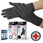 Doctor Developed Full Fingered Arthritis Compression Gloves (Grey/Pink) and Doctor Written Handbook - Soft with Mild Compression, for Arthritis, Raynauds Disease & Carpal Tunnel