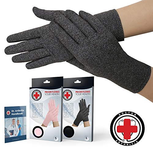 Doctor Developed Full Fingered Arthritis Compression Gloves (Grey) and DOCTOR WRITTEN HANDBOOK - Soft with Mild Compression, for Arthritis, Raynauds Disease & Carpal Tunnel (Large) ()